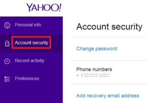 Yahoo Account Settings