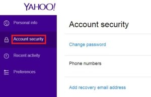 Add alternate Yahoo phone number