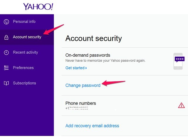 how to show password in yahoo mail