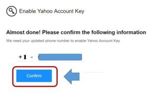 Confirm Yahoo account key phone number