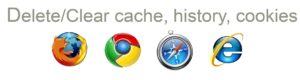 How to delete cache, cookies and history