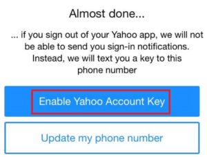 Enable Yahoo account key