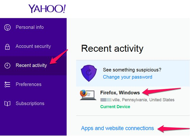 Yahoo mail activity login help