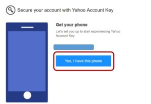 Secure your account with yahoo account key