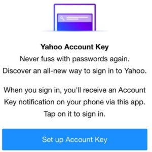 Set up Yahoo account key on IOS device