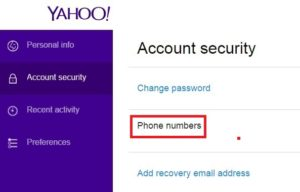 add phone number on yahoo mail
