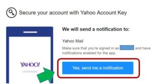 Send notification Yahoo account key