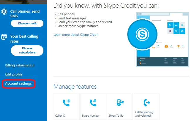 Skype account settings