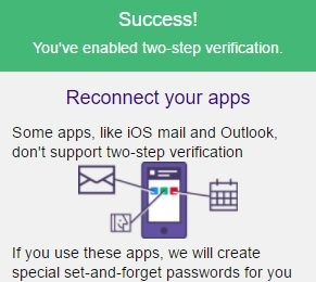 Success 2 step verifcation
