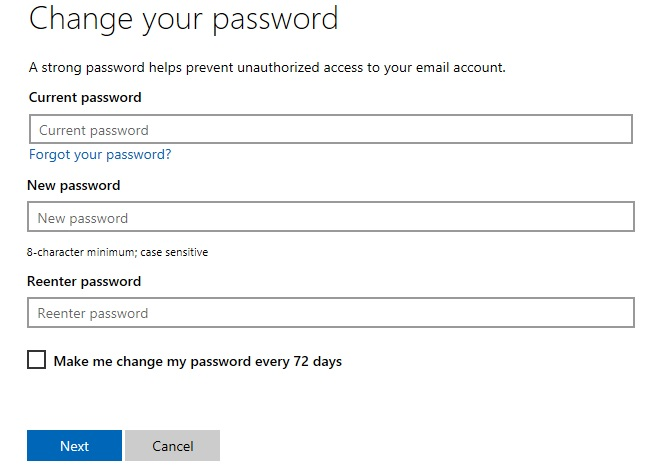 change your skype password