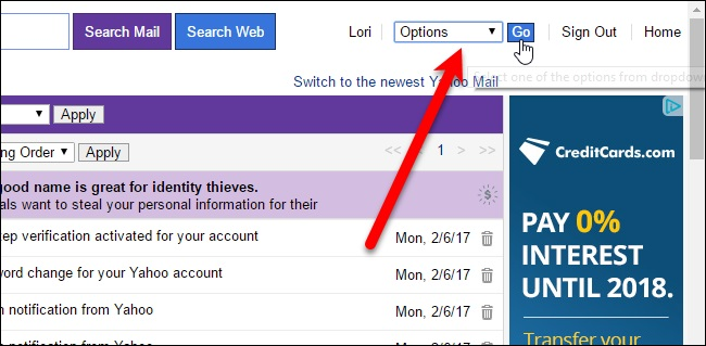 Setting on yahoo mail to auto reply