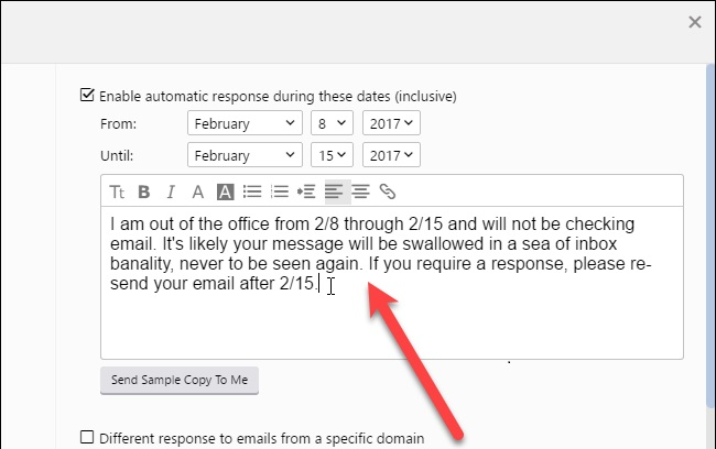 fill the auto response reply on yahoo mail